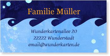 Adressaufkleber Geburtstag, Blaue Welle