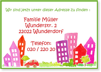 Umzugskarten, Neue Adresse