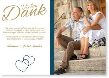 Dankeskarten Goldenen Hochzeit, Liebende Herzen