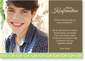 Einladungskarten Konfirmation, Ichthys Bordüre in Grün