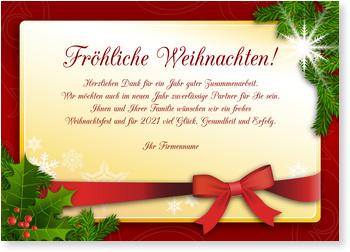 Bevorzugt Fröhliche Weihnachten Weihnachtskarten geschäftlich DH19