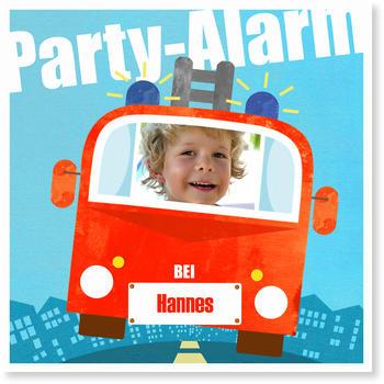 Einladungskarten Kindergeburtstag, Feuerwehrparty