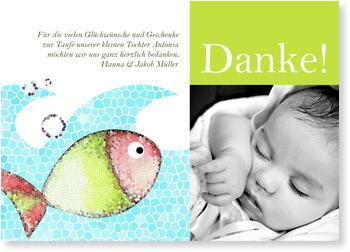 Dankeskarten Taufe, Kleines Mosaik Fischchen