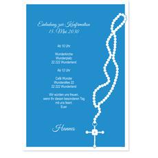 Perlenkette mit Kreuz - Himmelblau