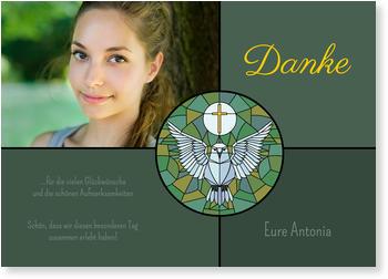 Dankeskarten Konfirmation, Kirchenfenster Mit Täubchen