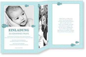 Einladungskarten Taufe, Pünktchen In Blau