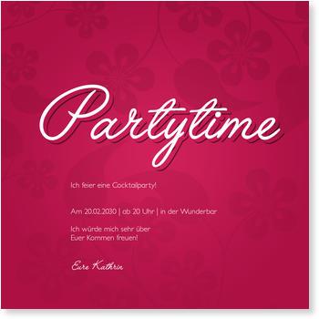 Einladungskarten Party, Partytime Floralmuster
