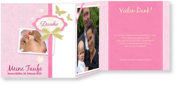 Dankeskarten Taufe, Scrapbook in Rosa