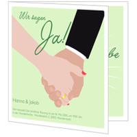 Hochzeit Hände in Grün