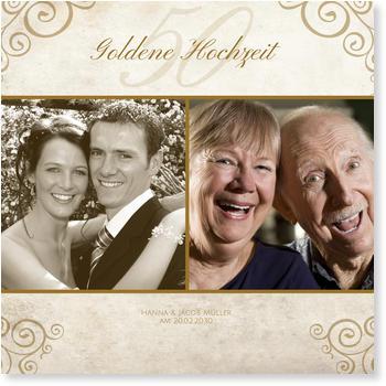 Einladungskarten Goldene Hochzeit, Schnörkel