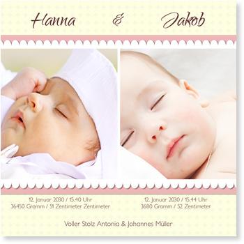 Babykarten.Bordure Babykarten Zwillinge