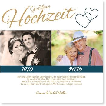 Außergewöhnlich Einladungskarten Goldene Hochzeit, Liebende Herzen