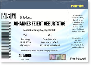 einladungskarten geburtstag | lieferzeit 1-2 werktage, Einladungsentwurf