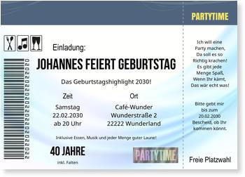 einladungskarten 40. geburtstag | lieferzeit 1-2 werktage, Einladungen