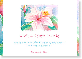 Allgemeine Dankeskarten, Hibiscus in Aquarell