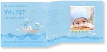 Einladungskarten Taufe, Kleines Papierboot