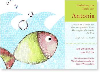 Einladungskarten Taufe, Mosaik   Fischi
