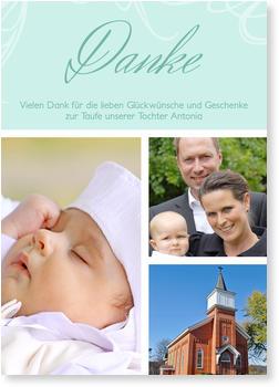 Dankeskarten Taufe, Zarte Verzierung