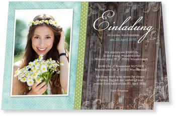 Einladungskarten Konfirmation, Wunderbare Konfirmation In Blau