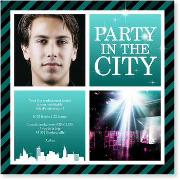 Invitations Anniversaire Personnalisées, Party in the City