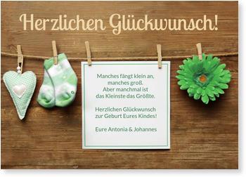 Grußkarten Geburt Online Bestellen, Wäscheleine In Grün