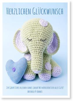 Grußkarten Geburt Online Bestellen, Kleiner Elefant In Blau