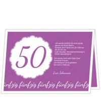 Elegante Einladung zum Fünfzigsten in Violett
