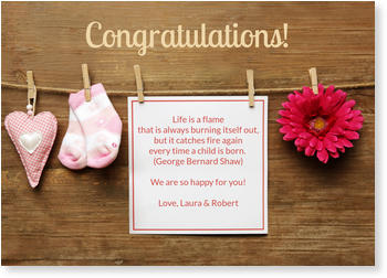 Baby Greeting Cards - say hello to the newborn baby, Clothes Line