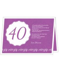 Elegante Einladung zum Vierzigsten in Violett