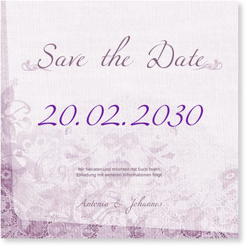 Save the Date Karten, Spitze in Lila