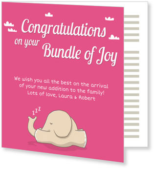 Baby Greeting Cards - say hello to the newborn baby, Sleeping Elephant