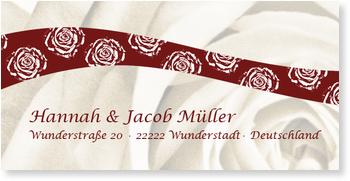 Adressaufkleber Hochzeit, Rosenband