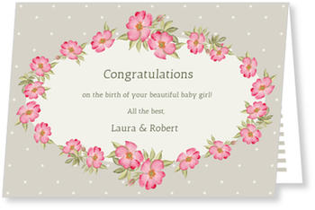Baby Greeting Cards - say hello to the newborn baby, Wild Roses
