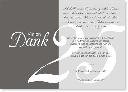 Silberhochzeit Dankeskarten / Danksagungskarten Silberhochzeit | Lieferzeit 1-2 Werktage