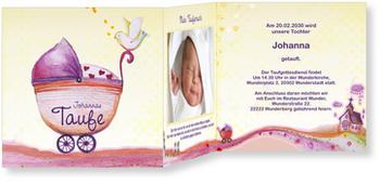 Einladungskarten Taufe, Kinderwagen