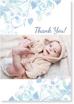 Christening Thank You cards – express your gratitude, Water Colour in Turquoise