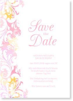 Save the Date Karten, Aquarell in Rosa