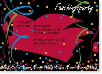 Einladungskarten Karneval Und Fasching Lieferzeit 1 2 Werktage