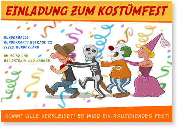 Einladungskarten Party, Kostümparty