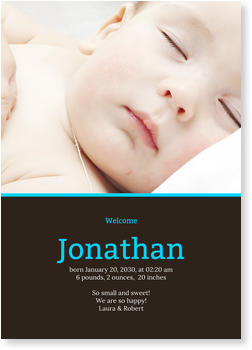 Baby Photo Cards – a fab presentation of your little one, Sheer Elegance in Blue