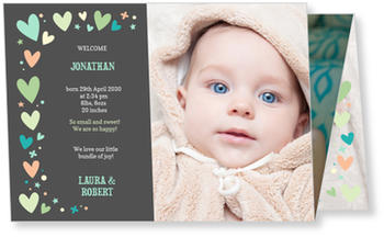 Baby Photo Cards – a fab presentation of your little one, Colourful Hearts