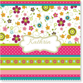 Baby Photo Cards – a fab presentation of your little one, Flower Pattern