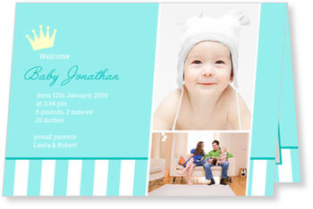 Photo Birth Announcements for Boys – share the news, Tiny Crown in Turquoise