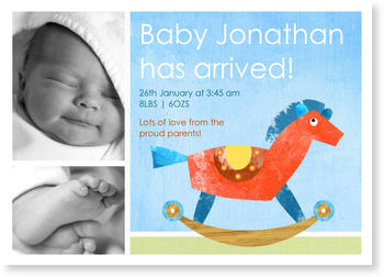 Photo Birth Announcements for Boys – share the news, Rocking Horse