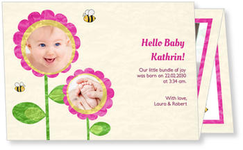 Photo Birth Announcements for Girls – pretty in pink, Bumblebee