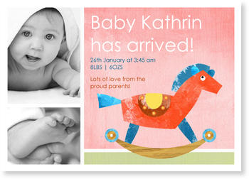 Photo Birth Announcements for Girls – pretty in pink, Rocking Horse