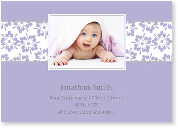 Photo Birth Announcements for Boys – share the news, Pretty Flowers in Lavender