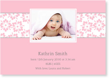 Photo Birth Announcements for Girls – pretty in pink, Pretty Flowers in Light Pink