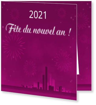 Invitations Nouvel An à personnaliser , Horizon en mauve