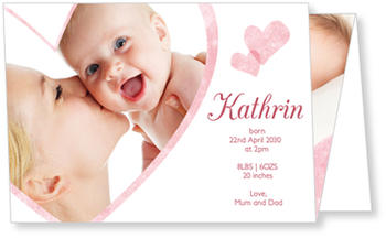 Baby Photo Cards – a fab presentation of your little one, Playful Hearts